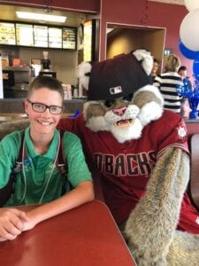Campbell with Baxter the Bobcat